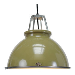 Original BTC - Titan 3 Pendant & Diffuser - Olive - Original BTC - We love the classic industrial look of the Titan Pendant. Designer Peter Bowles used an actual mold from the 1940's that produced these lamps for offices and factories at the time, but then he updated it for a more modern setting. We think it's an ideal choice for a kitchen, dining room, or workspace, since it is mostly downward lighting. But, if brightness isn't your thing, it comes with a frosted glass diffuser to give a softened, glowing light. The lamp is UL listed and suitable for commercial spaces. This lamp is the larger version of the Titan 1. Manufactured in a factory in the UK dedicated to green manufacturing practices.