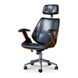 Baxton Studio - Baxton Studio Hamilton Walnut/ Black Faux Leather Office Chair with Headrest - Take your home office to the next level with our Hamilton office chair. Featuring a distinguished contemporary walnut-and-black-leather design plus a chrome-plated steel base,the chair combines discount and distinction.