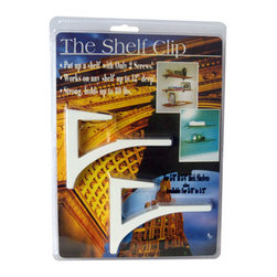 """Expo Design Inc. - The Shelf Clip for 5/8""""-3/4"""" thick shelves, White Gloss - For 5/8""""-3/4"""" thick shelves (usually wood, thick glass, stone). Simple one piece design supports a shelf with a cantilevered arch. Installs any shelf up to 12� deep with just 2 screws! Strong, extruded aluminum supports up to 80lbs also available in kits, pre packed with glass shelf."""