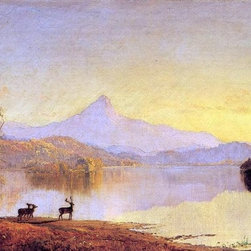 "Jasper Francis Cropsey Lake Scene, Mount Chocorua   Print - 16"" x 24"" Jasper Francis Cropsey Lake Scene, Mount Chocorua premium archival print reproduced to meet museum quality standards. Our museum quality archival prints are produced using high-precision print technology for a more accurate reproduction printed on high quality, heavyweight matte presentation paper with fade-resistant, archival inks. Our progressive business model allows us to offer works of art to you at the best wholesale pricing, significantly less than art gallery prices, affordable to all. This line of artwork is produced with extra white border space (if you choose to have it framed, for your framer to work with to frame properly or utilize a larger mat and/or frame).  We present a comprehensive collection of exceptional art reproductions byJasper Francis Cropsey."