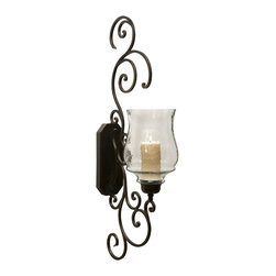 Angelina Grand Scrollwork Candle Sconce - Scrolled iron sconce that is accented with a fluted glass hurricane