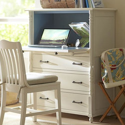 Cassidy Secretary - A secretary desk can be the perfect home office solution for squeezing a lot of function into a nook of another room (say, the living room or kitchen). This has lots of hidden storage and a charming pop of blue.