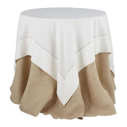 White Linen Hemstitch Overlay Tablecloth - Large - An elegant accent to any table, this white overlay is made from linen with a hemstitch all around. Its sophisticated color coordinates with any home, and pairs with our Burlap Tablecloth and fits our  Collapsible Table and our Beveled Glass Top.
