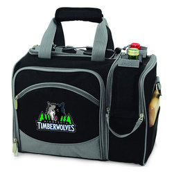 """Picnic Time - Minnesota Timberwolves Malibu Picnic Pack in Black - Insulated pack with picnic service for 2 made of 600D polyester canvas. The elegant and unique Malibu shoulder pack is perfect for picnics, concerts, or travel. This tote has an integrated wine storage section and a spacious food storage section with removable liner. The adjustable shoulder strap makes it easy to carry. A wonderful gift idea.; Decoration: Digital Print; Includes: 2 plates (melamine, 9"""", Nouveau Grapes design), 2 wine glasses (acrylic, 8 oz.), 4 napkins (100% cotton, 14 x 14"""", Nouveau Grapes design), 2 (18/0) stainless steel forks, knives, and spoons, 1 hardwood cutting board (6 x 6""""), 1 stainless steel cheese knife with wooden handle, and 1 stainless steel waiter-style corkscrew"""