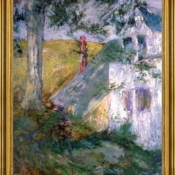 """John Twachtman-16""""x20"""" Framed Canvas - 16"""" x 20"""" John Twachtman The Summer House framed premium canvas print reproduced to meet museum quality standards. Our museum quality canvas prints are produced using high-precision print technology for a more accurate reproduction printed on high quality canvas with fade-resistant, archival inks. Our progressive business model allows us to offer works of art to you at the best wholesale pricing, significantly less than art gallery prices, affordable to all. This artwork is hand stretched onto wooden stretcher bars, then mounted into our 3"""" wide gold finish frame with black panel by one of our expert framers. Our framed canvas print comes with hardware, ready to hang on your wall.  We present a comprehensive collection of exceptional canvas art reproductions by John Twachtman."""