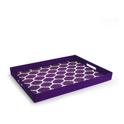 Jay Import - Purple & White Garden Lattice Tray - Perfect for serving fanciful finger sandwiches or cool lemonade on a hot day, this tray has contemporary style and bold color. Side handles make offering food or drinks easy and elegant.   14'' W x 19'' H Polypropylene Hand wash Imported