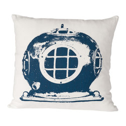 Cricket Radio - Montauk Diving Helmet Pillow, Oyster/Navy - A vintage diver's helmet makes a quirky, unique print for this contemporary throw pillow, whether your decor setting is ocean-themed or just eclectic. Each product is individually handmade, from silk screening to sewing, so you get that special, hand-crafted character. It is printed on sustainable Italian linen using ecofriendly ink.