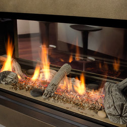 L1 Linear Series 2-Sided Fireplace - 1600I L1 2-Sided Series with Bronze Surround