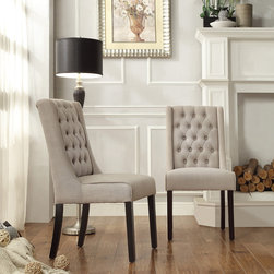 INSPIRE Q Evelyn Oatmeal Linen Tufted Back Hostess Chairs (Set of 2) -
