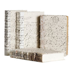 Zentique - Antiqued Scripted Parchment Book, White - The antique scripted parchment bound book uses recycled hardback books and is deconstructed and assembled by hand. Sizes may vary.