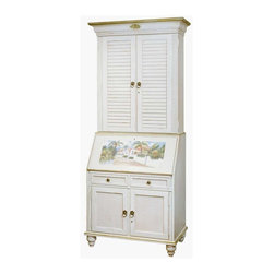Jasper Cabinets - Computer Secretary & Hutch with Hand Painted - A hand painted scene of a tropical paradise is showcased on this decorative computer secretary, a stylish and striking addition to any home's decor. Ideal for a beachfront office - or to bring the relaxed style of the beach to any space - the piece is finished in a cottage inspired creamy white. Signature automatic drop lid slide mechanism and lock. Pigeon holes and additional storage behind drop lid. Four solid wood drawers with interlocking drawer runner. Interior light in upper section. Two adjustable glass shelves with plate grooves. Adjustable floor levelers. Simulated Rattan drawer fronts. Farmhouse White with HP-90 Island Paradise. Made from Hardwood solids and veneers. Light distress finish. Assembly required. 35.5 in. W x 20 in. L x 86.5 in. H (250 lbs.)Aquamarine waters, tropical breezes and the sound of waves crashing on white sad beaches comes alive in the style of the Bahama Breeze. This tropical computer secretary has everything thing you need for your computer storage and components.
