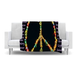 "Kess InHouse - Anne LaBrie ""Peaceful Meditation"" Black Rainbow Fleece Blanket (50"" x 60"") - Now you can be warm AND cool, which isn't possible with a snuggie. This completely custom and one-of-a-kind Kess InHouse Fleece Throw Blanket is the perfect accent to your couch! This fleece will add so much flare draped on your sofa or draped on you. Also this fleece actually loves being washed, as it's machine washable with no image fading."