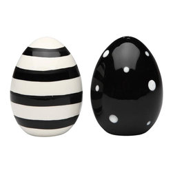 ATD - 2.75 Inch Black and White Polka Dot and Striped Eggs Salt and Pepper - This gorgeous 2.75 Inch Black and White Polka Dot and Striped Eggs Salt and Pepper has the finest details and highest quality you will find anywhere! 2.75 Inch Black and White Polka Dot and Striped Eggs Salt and Pepper is truly remarkable.