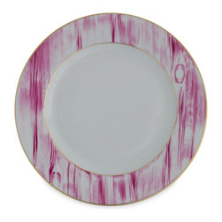 """Michael Devine Ltd. - Thomas Dinner Plate, Cyclamen - The brilliant new Thomas dinnerware collection is a beautiful interpretation of Michael Devine's signature hand printed """"Thomas"""" fabric. Each 24 karat gold accented piece by Marie Daâge exclusively for Michael Devine is hand painted in France by skilled artisans, using the finest Limoges porcelain and time honored techniques."""