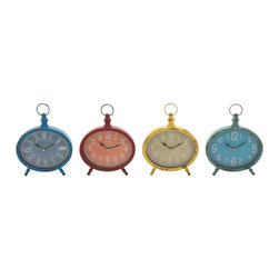 "Benzara - The Rustic and Colourful Metal Desk Clock 4 Assorted - Are you looking for a set of desk clocks that are colorful, vivid and which also have a rustic touch? Do you want to return to your childhood with your accumulated wisdom intact? Well, if you answered any of those questions in the affirmative then you will love these metal desk clocks. In simple yet eye-pleasing shapes, these clocks have colorful and distressed frames. They can decorate your bedrooms or, even, other rooms in your house. Perfect also as a gift for a child, these clocks can be used and gifted to many, in many situations. Their simple dial and numbers mean that reading time is a breeze. Plus, they have been made using quality materials. This gives them a long life. Grownups will be taken back to their childhood; and kids also will jump in joy. Indeed, these clocks are magical. . Metal desk clock 4 assorted dimensions: All 4 clocks: 8 inches (W) x 2 inches (D) x 9 inches (H); Metal desk clock color: Assorted; Made from: Metal; Dimensions: 19""L x 7""W x 7""H"