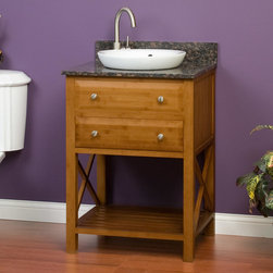 "24"" Clinton Bamboo Vanity for Semi-Recessed Sink - The Clinton Bamboo Vanity for Semi-Recessed Sink is made from environmentally friendly materials. With open shelving and a soft close drawer, there is plenty of room for toiletries."