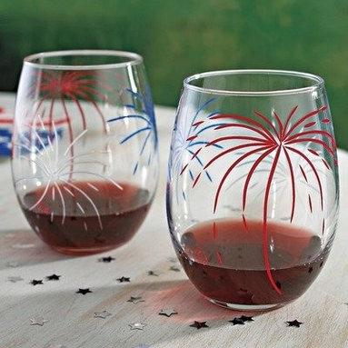 Set of 2 Fireworks 'U' Shape Stemless Wine Glasses, 20 Oz - These stemless wine glasses are splashed with red, white and blue fireworks.