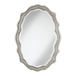 """Uttermost - Country - Cottage Uttermost Dorgali 40"""" High Silver Wall Mirror - A curvaceous design and antique style look give this champagne silver wall mirror its allure. The frame features an aged blue-gray finish accented in silver leaf with a light gray wash. Generous bevel adds a charming touch. This eye-catching design by Grace Feyock for Uttermost can be hung horizontally or vertically. Grace Feyock design framed wall mirror. Blue gray finish. Antiqued silver leaf details with light gray wash. 28"""" wide. 40"""" high. 2 1/2"""" frame width. 1 1/4"""" bevel. 2"""" deep. Horizontal or vertical hang.  Grace Feyock design framed wall mirror.  Blue gray finish.   Antiqued silver leaf details with light gray wash.   28"""" wide.    40"""" high.   2"""" deep.   1 1/4"""" bevel.   2 1/2"""" frame width.   Horizontal or vertical hang."""