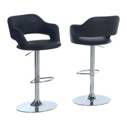 Monarch Specialties - Monarch Specialties 2357 Hydraulic Lift Barstool in Black and Chrome - This cool contemporary bar chair will be a stylish addition to your casual dining and entertainment area. The plush curved stool back and seat are covered in black leatherette to complement your taste. A shiny steel base with a high polished chrome finish supports the chair, with a hydraulic life and round footrest below for comfort. Transform your home into a fun hangout with this stylish bar stool.