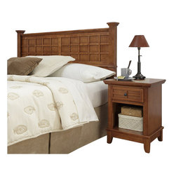 Home Styles - Home Styles Arts and Crafts Headboard and Night Stand in Cottage Oak - Home Styles - Bedroom Sets - 51805015 - Arts and Crafts Headboard and Night Stand is Mission Styling at its best! The Arts and Crafts Queen Poster Headboard embellishes typical mission styling with raised wood, lattice moldings and slightly flared legs. Finished in a warm Cottage Oak finish over hardwood solids and hardwood veneers, this bed�s simplistic yet detailed design makes it an ideal piece for any bedroom setting. Headboard size: 64.25 x 4 x 48.5