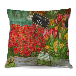 DiaNoche Designs - Pillow Linen - Diana Evans The Paris Flower Shop - Add a little texture and style to your decor with our Woven Linen throw pillows. The material has a smooth boxy weave and each pillow is machine loomed, then printed and sewn in the USA.  100% smooth poly with cushy supportive pillow insert with a hidden zip closure. Dye Sublimation printing adheres the ink to the material for long life and durability. Double Sided Print, machine wash upon arrival for maximum softness. Product may vary slightly from image.