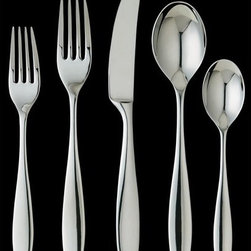 Ginkgo - Skandia 43 Piece Flatware Set - Sleek and contemporary, Skandia by Ginkgo is great for both every day dining and evening galas. With 18/10 stainless steel protecting the flatware against corrosion, Skandia is well made and durable. This flatware is sure to last and will make an excellent addition to your table. Set Includes: 8 Dinner forks, 8 Dinner spoons, 8 Dinner knives, 8 Salad forks, 8 Teaspoons, Serving spoon, Cold meat fork, Pierced Spoon Features: -Versatile design.-18/10 Stainless steel.-Dishwasher safe.-Mirror finish.-Skandia collection.-Collection: Skandia.-Distressed: No.-Number of Items Included: 43.