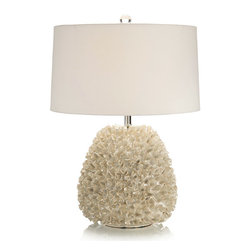 "Frontgate - All Frills Table Lamp - Pearlized glazed ruffle. Three way switch. Uses one 150-watt bulb. 10"" harp. Cord measures 6'L. Add a graceful, feminine touch to your home decor with our All Frills Table Lamp. Bursting with pearlized layers of ruffles, this lamp brings both visual and textural interest to your space. A three-way switch allows for ease in adjusting the lamplight to your preference.  .  .  .  .  . UL dry listed . Includes off white shade ."