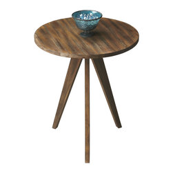 Lucky Number 3 Table - Three is never a crowd with this table. Rustic wood and a flared tripod base combine to make this a striking and versatile piece. Put it outdoors on the patio or anywhere inside.