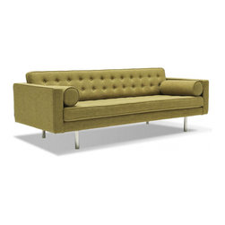 Spencer Mid Century Modern Sofa, Green - An updated take on a sleek mid-century furniture design, this Spencer Mid Century Modern Sofa would make any mad men comfortable. It's built on a durable frame with sleek, brushed silver legs that add a spacious feel to your space. The linear design includes plush cushions upholstered in select fabric color options. A button-tufted back and welt trim are tailored details.