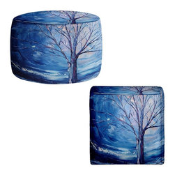 DiaNoche Designs - Ottoman Foot Stool by Aja-Ann - Silent Night - Lightweight, artistic, bean bag style Ottomans. You now have a unique place to rest your legs or tush after a long day, on this firm, artistic furtniture!  Artist print on all sides. Dye Sublimation printing adheres the ink to the material for long life and durability.  Machine Washable on cold.  Product may vary slightly from image.