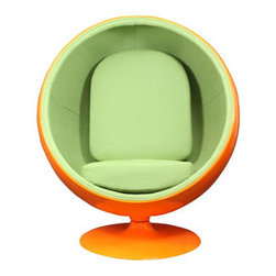 """LexMod - Kaddur Lounge Chair in Orange Green - Kaddur Lounge Chair in Orange Green - This retro lounge chair resembles a space-age pod creating a spark of interest in anyone who sees it. The fabric lined inner shell offers a sense of privacy and retreat as you relax into the plush cushions. Its exterior is a wonder; a molded fiberglass shell and matching fiberglass base with an integrated swivel mechanism. Set Includes: One - Kaddur Lounge Chair Fiberglass Shell, Poly / Cotton Interior, Swivel Base, Scratch and Chip Resistant Finish Overall Product Dimensions: 29""""L x 42""""W x 48""""H Seat Height: 18""""H - Mid Century Modern Furniture."""