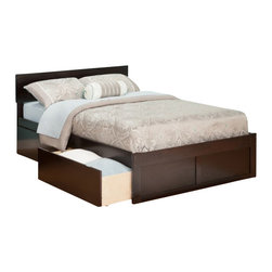 Atlantic Furniture - Atlantic Furniture Orlando Bed with Drawers in Espresso-Queen Size - Atlantic Furniture - Beds - AR8142111