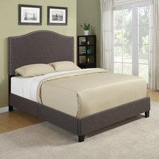 Beds Portfolio Nicci Chocolate Brown Linen Queen Size Platform Bed