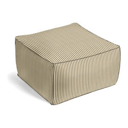 Taupe Ticking Stripe Square Pouf - The Square Pouf is the hottest thing in decor since the sectional sofa. This bean bag meets Moroccan style ottoman does triple duty as a comfy extra seat, fashion-forward footstool, or part-time occasional table.  We love it in this traditional taupe & ivory ticking stripe woven in super soft cotton.
