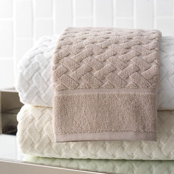 Uptown Bath Towel - Linen - Sculpted into the terry pile of the cultured Uptown Towel, a classic basket weave provides a stately look with geometric lines and traditional associations. This bath towel design is crafted from 100% cotton in an easy-to-match hue; the genteel and dimensional lattice is bordered by a wide frame of solid terry to increase the subtle complexity of this glamorous look.