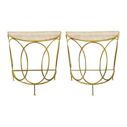 Pre-owned Curved Golden Mirrored Side Tables - A Pair - A lovely pair of golden curved console tables with mirrored tops. These two pieces hold elegance and glamour with thin sleek lines with a antique finish.  Perfect for any room!