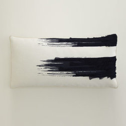 "Horchow - Navy ""Brushstroke"" Lumbar Pillow - Intriguing designs rendered in bold strokes of navy equal pillows that add dramatic visual impact to any room. Handcrafted of linen. Designs on ""Brushstroke"" and ""Corner Circle"" pillows accented with strips of chiffon. Down inserts. Dry clean. ""Bru..."