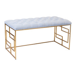 """Worlds Away - Worlds Away Devin Gold Leafed Bench Lavender Tufted Top - Chic with intriguing square embellishments along the legs, the gold Worlds Away Devin bench stands boldly with modern allure. Its lavender tufted cushion delivers an unexpected traditional twist, topping the seat with classic style. 40""""W x 18""""D x 22""""H; Hammered umber gold leaf; Iron; Fixed velvet cushion"""