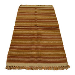 Flat Weave SHades Of Brown 3'X5' Hand Woven 100% Wool Durie Kilim Rug SH7095 - Soumaks & Kilims are prominent Flat Woven Rugs.  Flat Woven Rugs are made by weaving wool onto a foundation of cotton warps on the loom.  The unique trait about these thin rugs is that they're reversible.  Pillows and Blankets can be made from Soumas & Kilims.