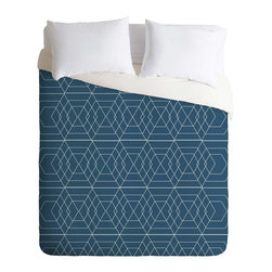 Geometric Seaside Duvet Cover - Create a sleek focal point in your bedroom. This gorgeous, geometric pattern mimics a mathematician's hand at work, but permanently on your comforter. Perfect for a room that loves colors of the sea and wood, the Geometric Seaside duvet cover features a hidden zipper with interior corner ties, and a print that's fade-resistant, machine washable, and custom printed for every order.