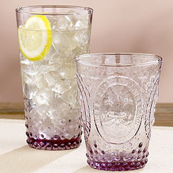 Plum Fleur de Lys Glasses, Sets of 4 - I love these Fleur de Lys glasses. The colors is wonderful and would create such a lovely table setting.  Buy two sets to allow for 6 place settings with a couple of extra glasses in case of breakage over the years.
