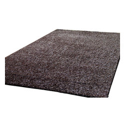 Rug - Luxurious Soft Shag Rug, Hermosa Solid Collection, 2 Tone Brown, 5 X 7, Solid, H - HERMOSA VISCOSE SOLID COLLECTION