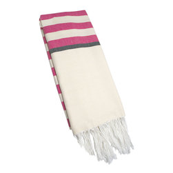"Abanja - Barek Stripe Fouta Pink Towel - The Barek Fouta towel envelops with oversized comfort and classic style. Featuring bold pink stripes against a neutral background, a soft cotton blend forms the fringed beach accessory. 39""W x 72""H; 85% cotton/15% acrylic; Pink, black and neutral stripes"