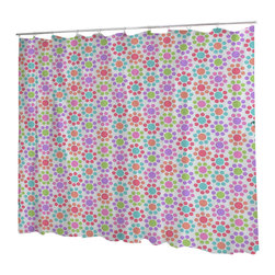 Uneekee - Uneekee Floral Colors Shower Curtain - Your shower will start singing to you and thanking you for such a glorious burst of design as you start your day!  Full printing on the front and white on the back.  Buttonhole openings for shower rings.