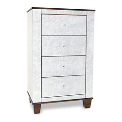 Zuri Furniture - Santos Mirrored 4 Drawer Modern Chest - The perfect mix of classic design with a modern twist, the Santos collection provides a beautiful antique mirrored finish and gold accents. Pair with other items in this collection to complete the look!
