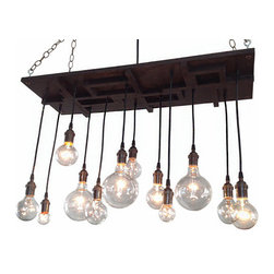 Industrial Lightworks - Mid Century Chandelier - With Edison Style Nostalgic Bulbs - One of a kind mid century chandelier. Inspired by a combination of industrial, mid-century, and arts and crafts design. The pattern will vary per chandelier.