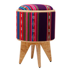 Pomada - Aguayo-Violet Stool Ottoman - Store your tequila, make a table on which to pour it, and then put your feet up to sleep it off — all with this funky stool. It's made of ecofriendly OSB and covered in a bright and fun fabric of Andean design textiles.