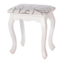 Willow - Willow Foot Stool - You could easily find the perfect spot for this beautiful foot stool in just about every room of your home!  White wood frame features romantic curved legs, while the padded cushion is covered with wintry white fabric that swirls with willowy taupe flourishes.  Some assembly required.  Spot clean only.