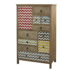 Powell - Powell Squiggly Dee High Box X-493-111 - The Squiggly-Dee collection of accent furniture combines rustic and trendy in our driftwood and distressed painted chevron finishes. The Squiggly-Dee high chest is a versatile piece of furniture that could fit in a variety of rooms in your home, such as the bedroom, living room, kitchen, or craft room. It is a fun piece with bright colors and patterns, and an abundance of storage. It has ten drawers and one cupboard door that are all different sizes with different colors, pulls, and knobs to add to the creative design. There is a driftwood finish on the chest and the drawers are a mix of driftwood and painted white and colored (colors are: red, grey, blue, black, green, and yellow) chevron. Decorative knobs in contrasting bright colors and antique gold circular pulls accent the drawers. It is part of the Squiggly-Dee line that includes a side table, an accent table, a 12-Drawer console, a wood tray, and a high chest.