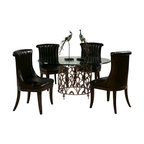 American Drew - American Drew Bob Mackie 5 Piece Round Glass Dining Room Set - Soft gentle shapes, unique patterns, a mixture of materials and elegant details all describe the unique elements that are synonymous with a Bob Mackie gown; and these motifs are evident in the Bob Mackie Home? Signature Collection by American Drew. The Signature collection is a fresh twist on classic designs. The inspiration and story is the creative use of materials and veneer work. The finish is a beautiful Rosewood color with veneer details in Primavera, Ebony, Walnut Burl, Mahogany and Cherry. Black Granite, Antiqued Mirror and Golden color accents add depth, drama and sparkle to this collection. Ribbon, lace, feather and starburst motifs add the 'dare to be noticed' flair to this group. Custom designed jewelry-like hardware, pierced brass collars and brass feet on selected items add a fine, finished look to each piece.